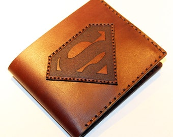 Leather wallet with superman logo, brown wallet, great leather item, brown men's wallet, credit card wallet, gift for men, Superman.