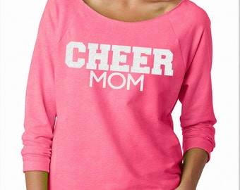 Cheer Mom Wide Neck Fleece Pink