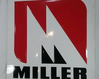 Large Miller farm and ranch steel raised metal advertising sign seed