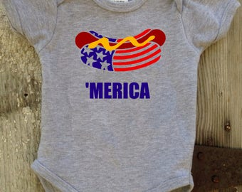 Merica Hot Dog 4th of July Onesie