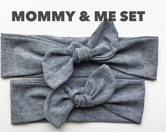 Chambray Denim : Mommy & Me set - top knot headbands