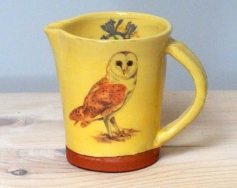 Bird jug, Bird pitcher, Handmade jug, Barn Owl pitcher, Barn Owl jug, pottery jug, milk jug, terracotta jug,bird lovers gift, mothers day