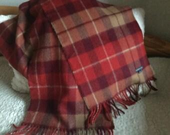 Vintage 100% Baby Alpaca red tartan plaid soft long peruvian alpaca scarf Made in Peru