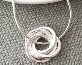 50th Birthday five interlinked knot rings necklace