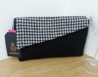 Black Harris Tweed Clutch Evening Bag