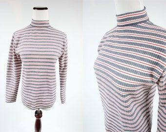 1960's Striped Red + White + Blue High Collar Long-sleeve Top
