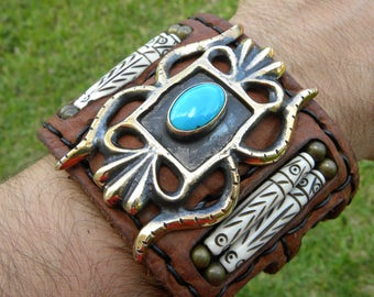 Cuff Buffalo Bison leather customize to wrist size Bracelet Ketoh Natural Turquoise Native Indian style wristband handcrafted signed bones s