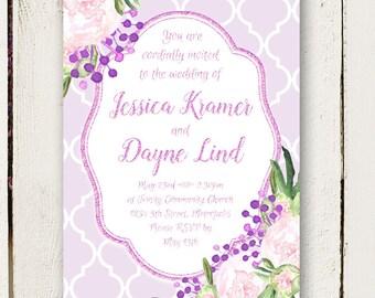 Purple Wedding Invitations - Watercolor Peonies - Unique Invitations - Invitation Only