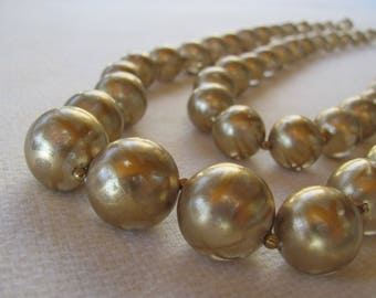 Vintage Gold beads, Transluscent 2 strands