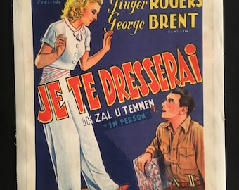 Original 1935 In Person Ultra RARE Belgian Movie Poster, Ginger Rogers, George Brent