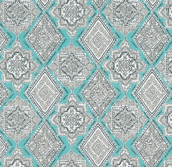 Ocean Blue & Gray Southwest Indoor Outdoor Fabric by the Yard ...