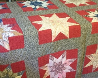 Vintage Americana Quilt 63x71 Red White Blue