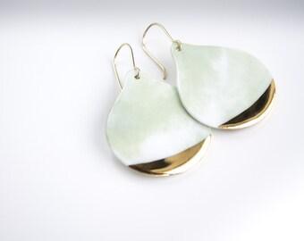 Green Golden Porcelain Earring / Spring Nature Fashion Handmade / Women's Gift Ideas / Porcelain Earrings / Minimalism / Wedding earrings