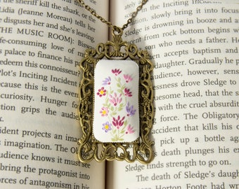 Hand embroidered victorian necklace, Lavender Necklace, Lilac Purple Orchid, pink, mothers day gift Lavender Wedding Bridesmaid Jewelry Gift