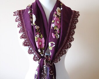 Purple Traditional Turkish Scarf, Crochet beaded edge scarf, Traditional Turkish Yemeni, Oya scarf Cotton floral scarf handmade lacework oya