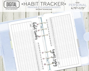PERSONAL size Habit Tracker planner insert, monthly daily routine printable page, black and white inserts, instant download 101OR H BWSCRIPT