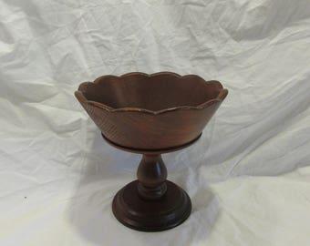 Wood Pedestal Bowl, Fruit Bowl, Centerpiece, Burma Teak, Hong Kong, 1970's