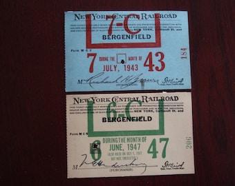 Lot of 2 Tickets Pass New York Cental Railraod Train BergenField July 1943 and June 1947 Collectible Paper Ephemera Memorabilia C397