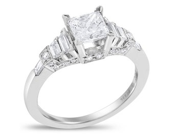 1.51 Ct. Natural Diamond Princess Cut Classy Engagement Ring In Solid Platinum