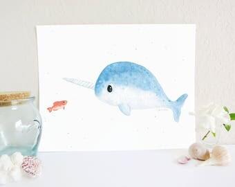 Narwhal Art Print, Arctic Art Print, Narwhal Decor, Whale Art Print, Arctic Art, Ocean Nursery Decor, Ocean Nursery Art Print, Baby Room Art
