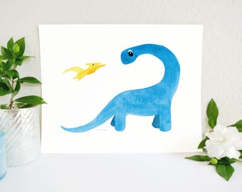 Dinosaur Nursery Art, Dinosaur Art, Apatosaurus and Pterodactyl Art Print, Baby Dinosaur, Dinosaur Theme, Dino Boy Room Art, Kids Wall Art