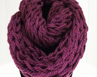 Dark Purple Arm Knit Scarf
