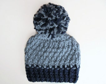 Wool baby hat Baby pom pom hat Newborn pom hat Baby boy hat Newborn boy hat Gray and blue baby hat Baby boy winter hat Crochet baby hat
