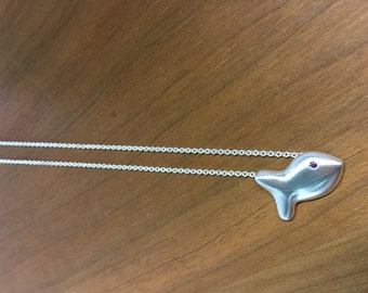 Goldfish Necklace in Sterling Silver with Color Treated Purple Diamond