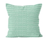 Ocean Waves Pillow Cover, seafoam mint green pillow cover, beach house decor, nautical nursery pillow cover