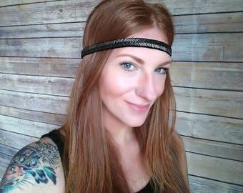 Hippie Headband, Silver Bead Headband, Beaded Boho Headband, Bohemian Accessories, Summer Festival Accessories, Black Boho Headband