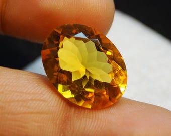 50% OFF - Gorgeous !!! Faceted Citrine Gemstone - Citrine Faceted - Oval Cut - Hydro Gemstone - Citrine Quartz 20x15x9 mm (A00-238)