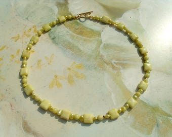 Lemon jade necklace chain pillow beads freshwater cultured pearl