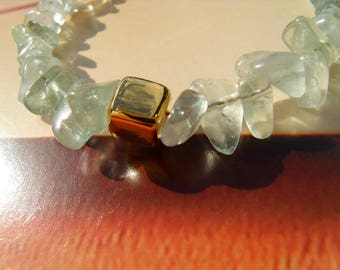 Fluorite bracelet green Aqua splinter Greek ceramic gold plated