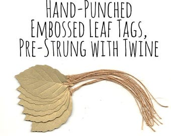 Pale Antique Gold Embossed Birch Leaf Gift Tags, Metallic Gold Textured Cardstock, w/ Jute Thread/Rustic Twine, Hang Tag/Die Cuts