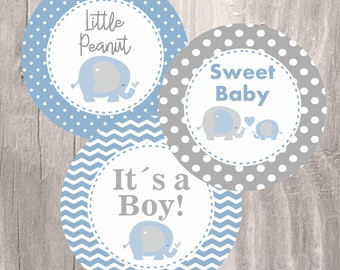 Elephant Printable Centerpieces, Blue and Grey Elephant Baby Shower Printable Party Circles, Instant Download, Boy Baby Shower Decoration
