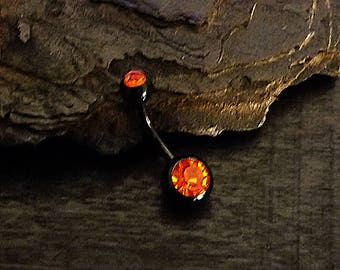 """14g 7/16"""" Surgical Stainless Steel / Orange Double Gem Piercing Black Navel Body Jewelry"""