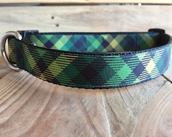 "St. Patrick's Day Dog Collar, Green Plaid Dog Collar, Quick Release Buckle, 1"" width"