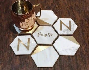 Marble Carrarra Hexagonal Coasters