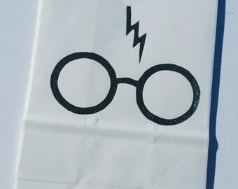 Hand Stamped Harry Potter Favor Bags, set of 12