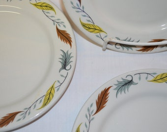 "SET of 4 - Duraline Grindley Hotel Ware - Colorful Leaves - Salad Dessert Plate - 8"" Diameter - Super Vitrified China - Made in England"