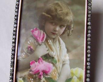 Attractive Antique BRASS PICTURE FRAME with Diamante Surround circa 1880