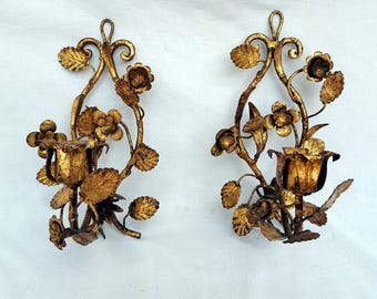 Pair Vintage Italian Toleware Gold Gilt Wall Sconces