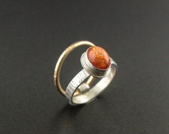 Kinetic Ring with Oregon Sunstone