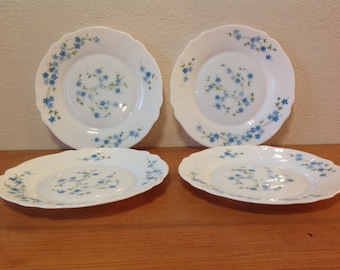 Lot of Vintage 4 small Dessert plates series Veronica forget-me-not arcopal FRANCE