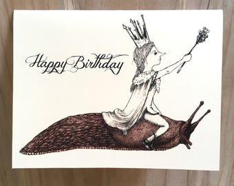 Slug Queen Birthday card with original whimsical illustration