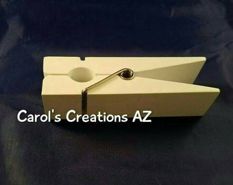 Jumbo Wooden Clothespin / Large Clothespin / Baby Shower Decor / Note Holder / Photo Holder / Recipe Holder / Mail Holder / CUSTOMIZABLE