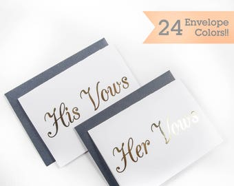 Gold Foil His Vows Her Vows Wedding Cards, Cards to Hold Your Vows, Vow Cards for your Wedding Day (WC000-CL-H-F)