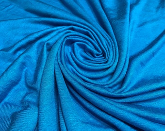 TURQUOISE Rayon Spandex Jersey Knit Fabric, 4 Way Stretch, Four Way, BTY By The Yard