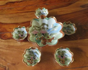 Beautiful Vintage Porcelain Japanese Lotus Design Three Legged Bowl With Five Serving Dishes Scalloped Edges And Geisha
