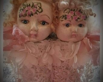Handpainted Wall Display Friendship/Sisters Dolls